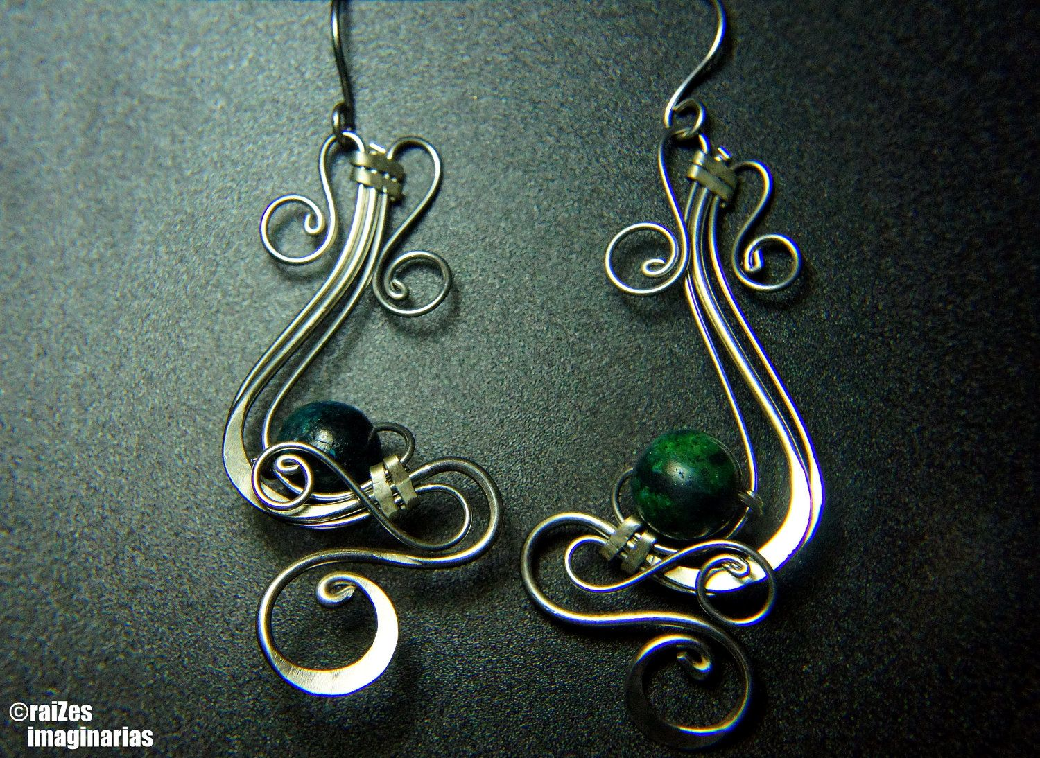 Beautiful Wire Wrapped Earrings With Chrysocolla, Via Etsy