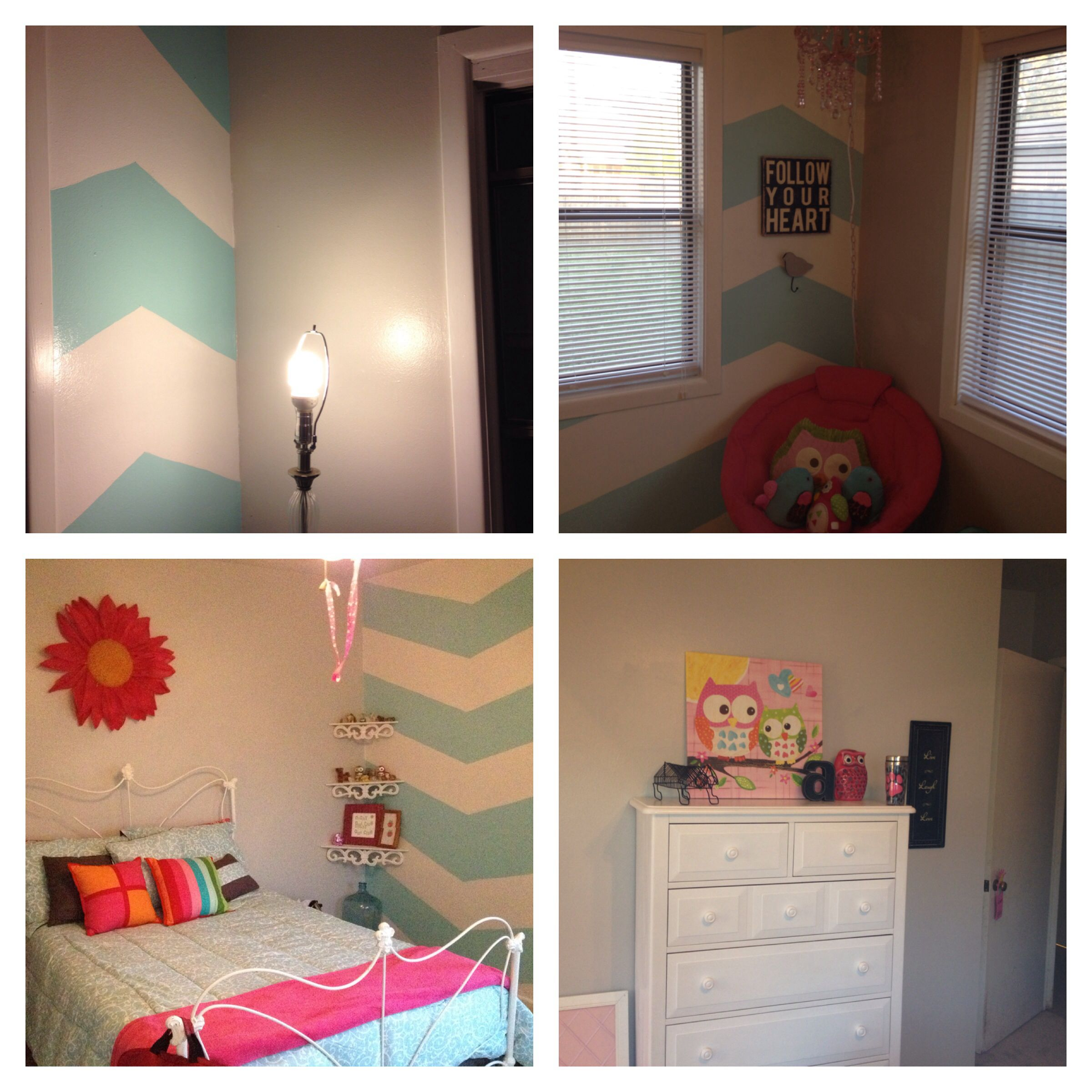 Teal & Gray Bedroom With Black ,pink And White Accent