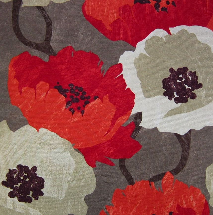 Modern Floral Upholstery Fabric   Red Large Scale Floral Print Design    Abstract Drapery Fabric By