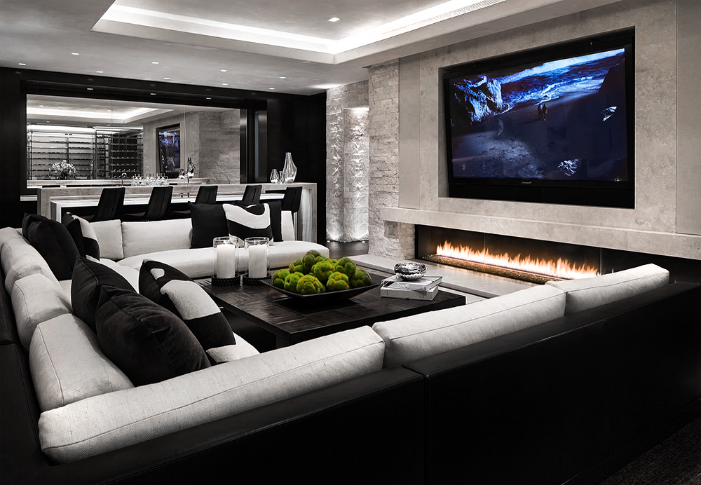 Gorgeous Black And White Luxury Media Room Home Theater Decor With Black And White Sectional Living Room Theaters Home Cinema Room Home Theater Decor