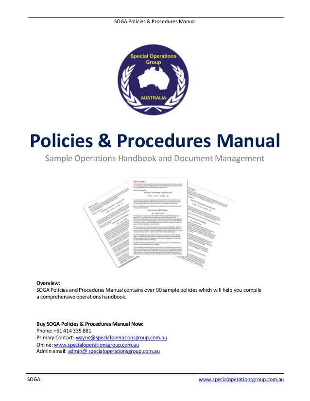 Sample Policy Manual Template Activity Proposal Templates
