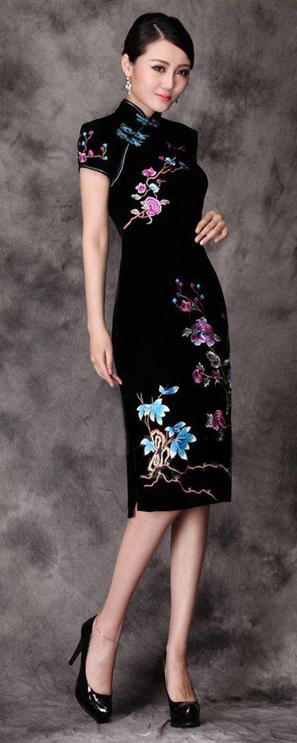 Elegant black velvet floral Chinese cheongsam dress #dress #Qipao ...
