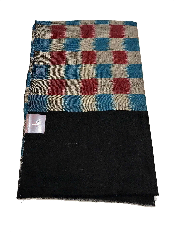 ba3a551ce Ikat Design Pure Pashmina Shawl/Wrap, Check Pattern, Pure Cashmere Shawl,  Woman shawl, Kashmiri shawl, Kashmir wrap, Black Shawl, Hand Woven by ...