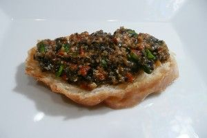 Black Olive Tapenade. Obsessed. I use it with just about everything.