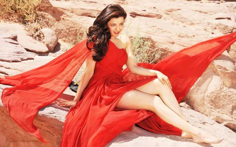 Hot Kajal Agarwal Showing Her Thigh In Red Dress Red Dress Indian Actresses Kajal Agarwal Bikini