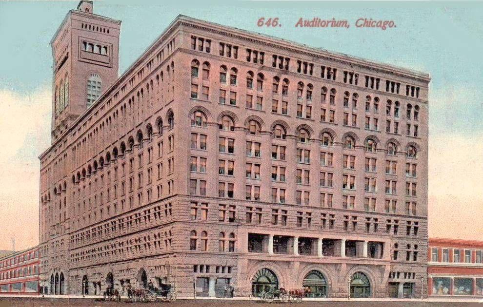 Postcard Chicago Auditorium Theatre Building Louis Sullivan