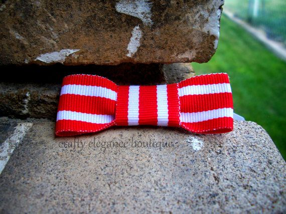 Adorable Red Striped Bows by craftyelegence, $2.50