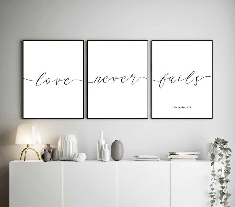 Love Never Fails Prints Bedroom Wall Art Home Decor Bedroom Set