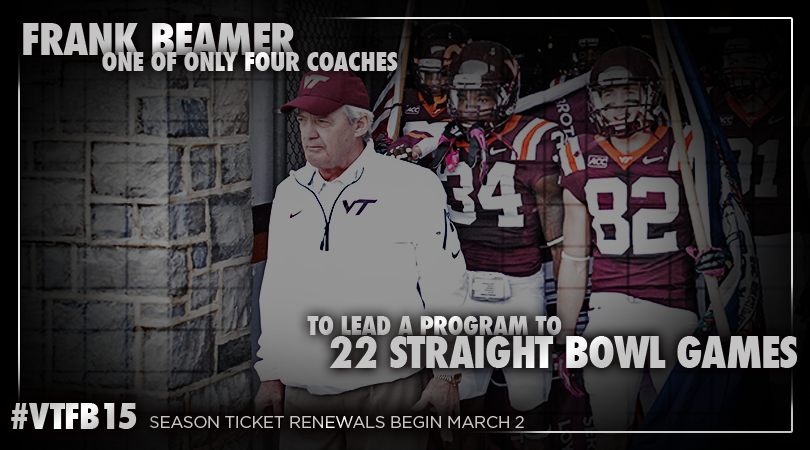 Head coach Frank Beamer is one of only four coaches all