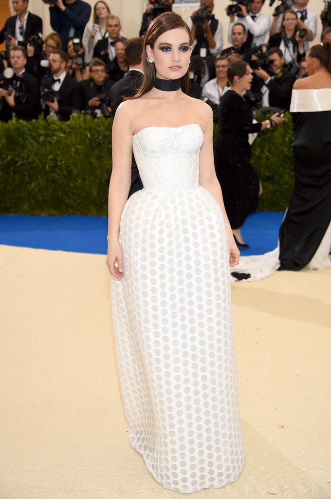 Lily James in Burberry attends the 2017 Met Gala. #bestdressed