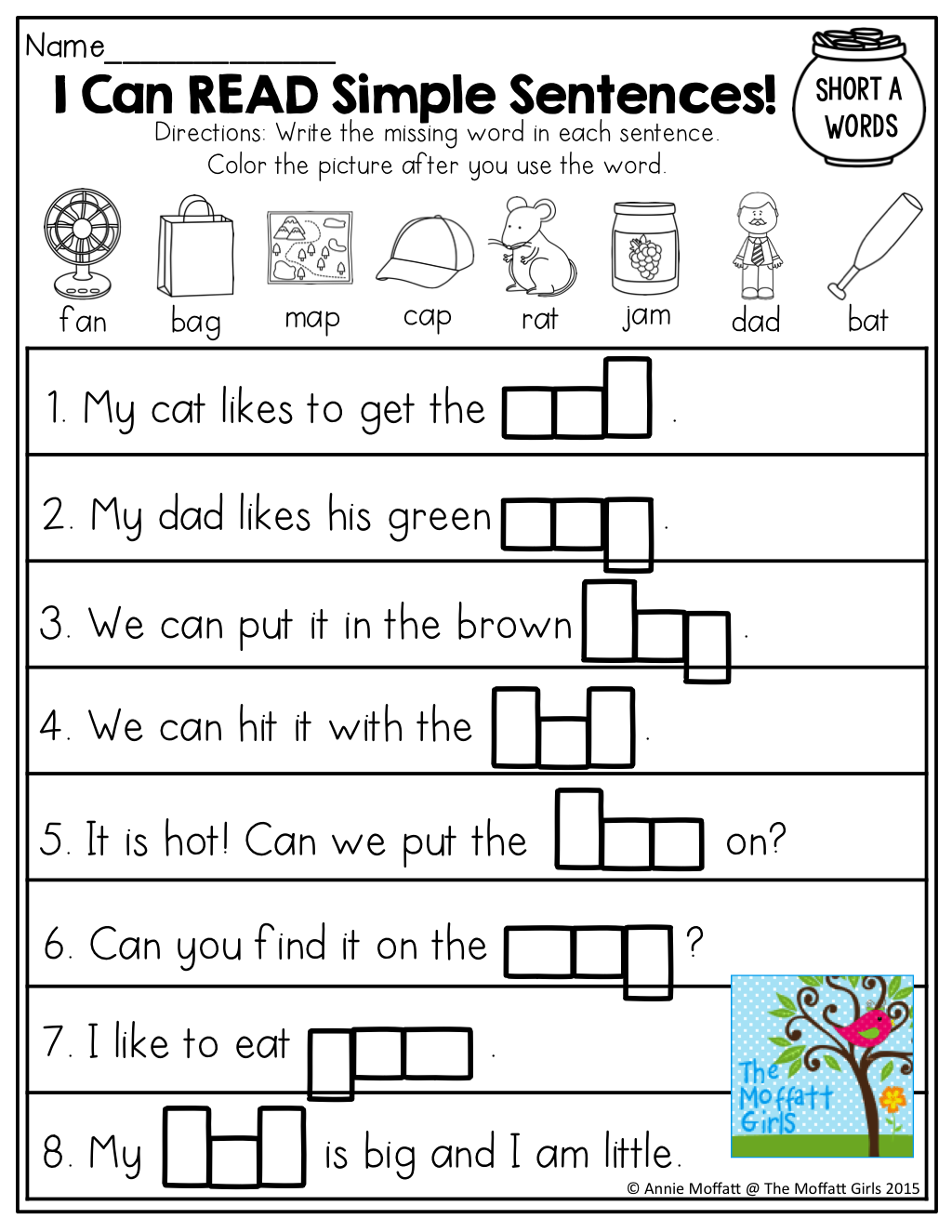 I Can READ! Simple Sentences with CVC words to fill in!   Word family  worksheets [ 1325 x 1024 Pixel ]