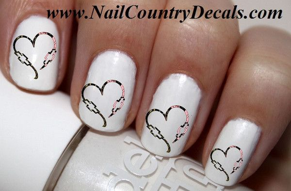 50 Pc Realtree Mossy Oak Dbl Chevy Heart His N Hers Bowties Nail Decals Art