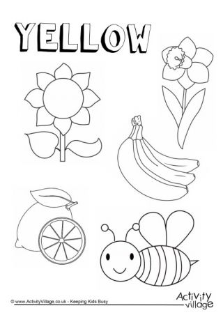 Yellow Things Colouring Page   crafts   Pinterest   Yellow things ...