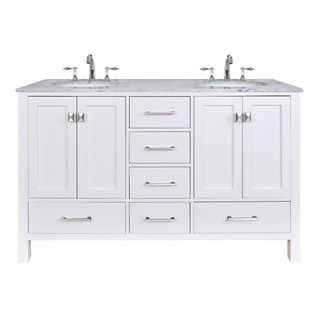 60 Inch Bathroom Vanity Double Sink stufurhome 60 inch malibu pure white double sink bathroom vanity