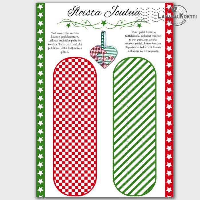 Tämä Sydän-joulukortti on enemmän kuin vain kortti. Se on askartelukortti, josta voi askarrella joulukoristeen.
