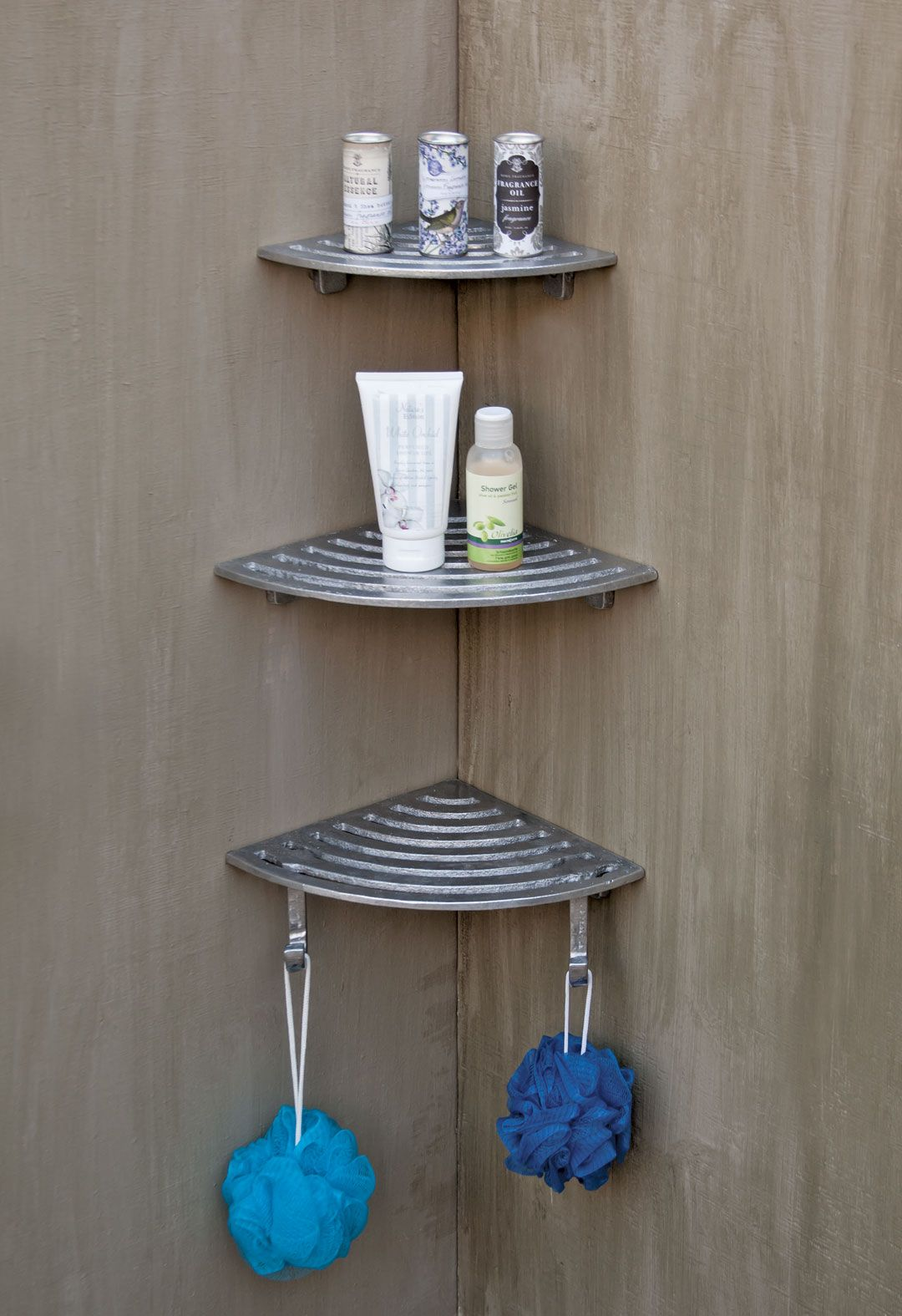 Tiered corner shower shelves with hooks. Made from sand cast ...