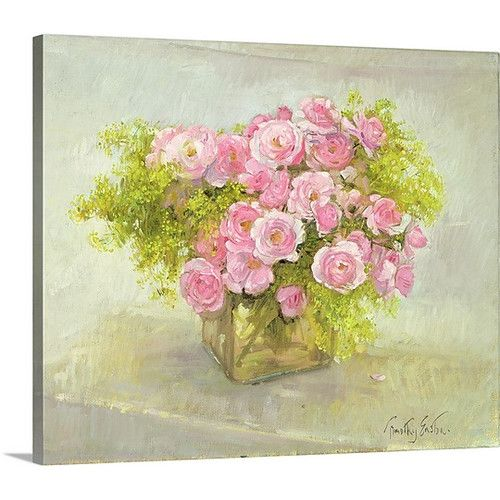 Found it at Wayfair - 'Alchemilla and Roses, 1999' by Timothy Easton Painting Print on Canvas
