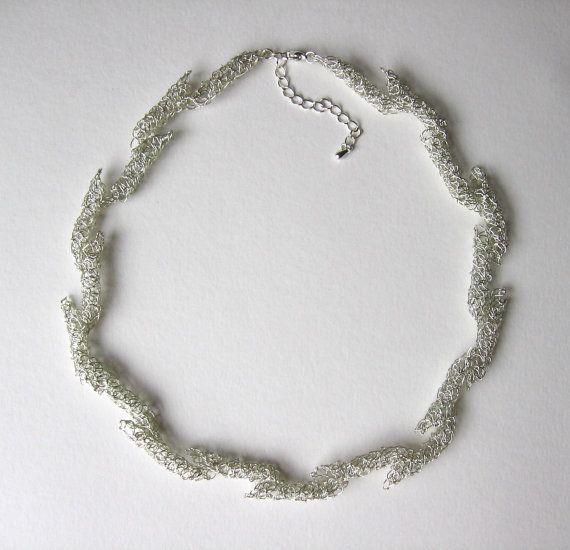 Handgefertigte Hell Silber Draht Häkeln Halskette Diese Kette