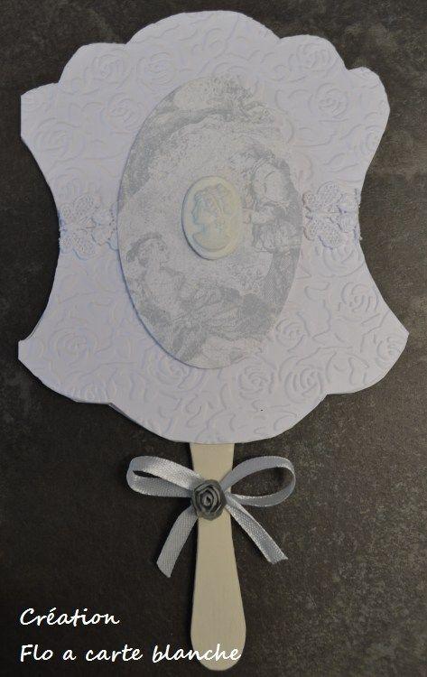 Carte éventail faite d'après la photo d'un éventail du xviiieme siècle - camee en decoration