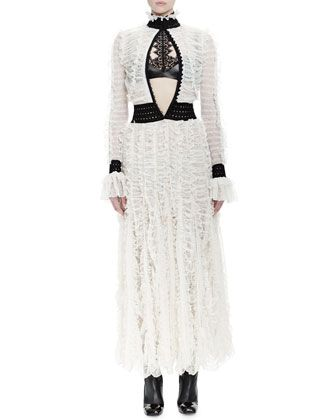 Mock-Neck Long-Sleeve Lace Gown & Halter-Neck Bra Top w/Lace by Alexander McQueen at Neiman Marcus.