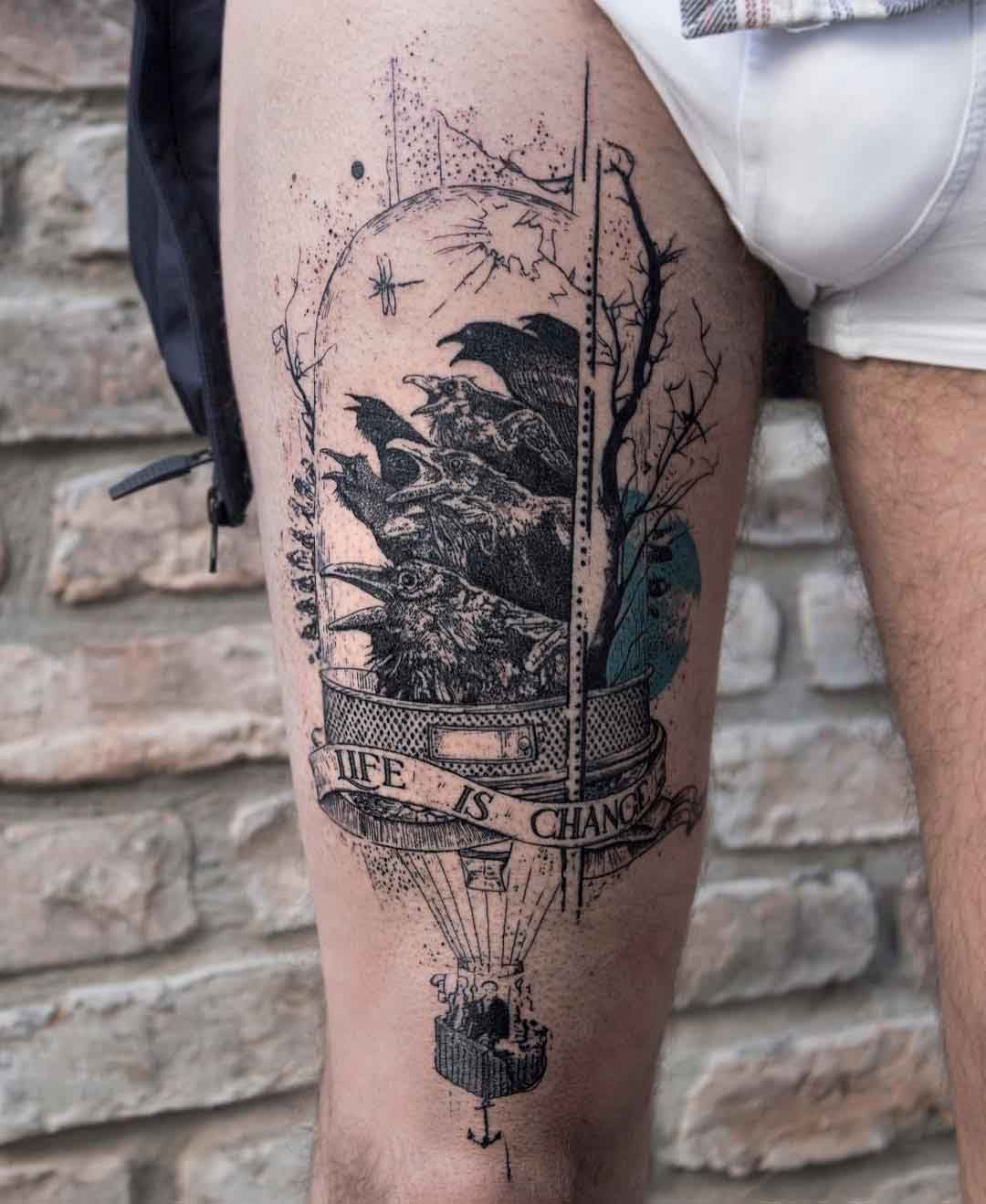 Life is chance tattoo on thigh best tattoo ideas gallery