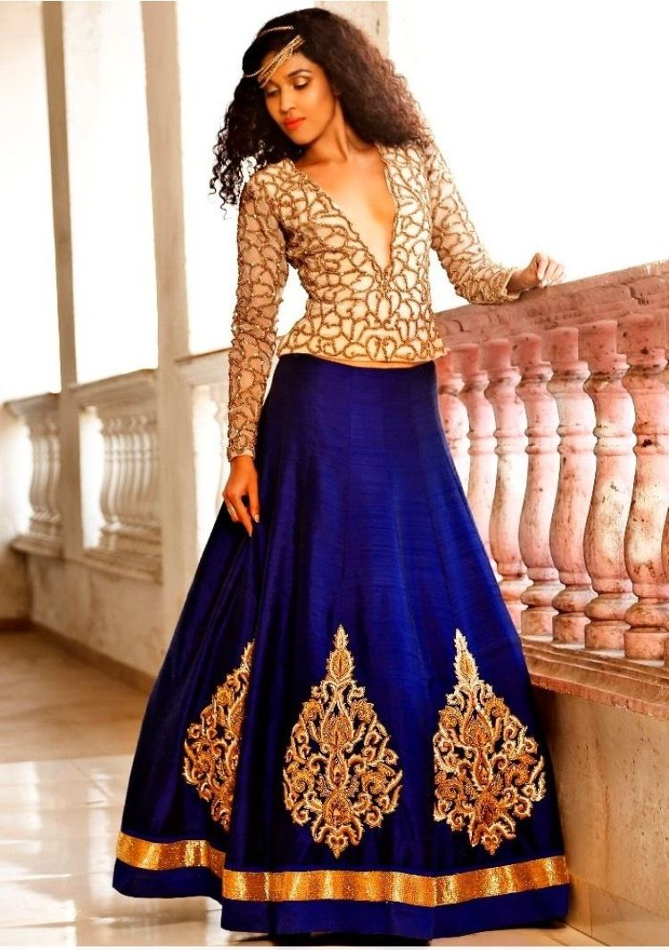 Blue and cream lehenga choli gujarati dresses casuals