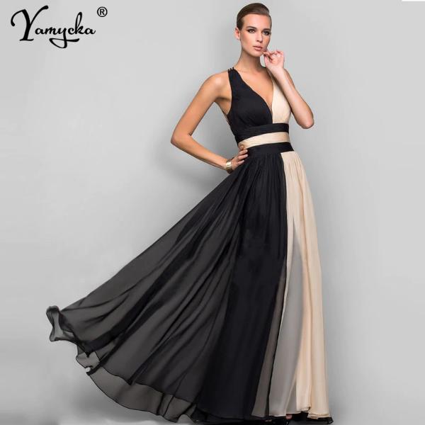 Elegant Chiffon V Neck Long Dress   Dresses, Colorful ...