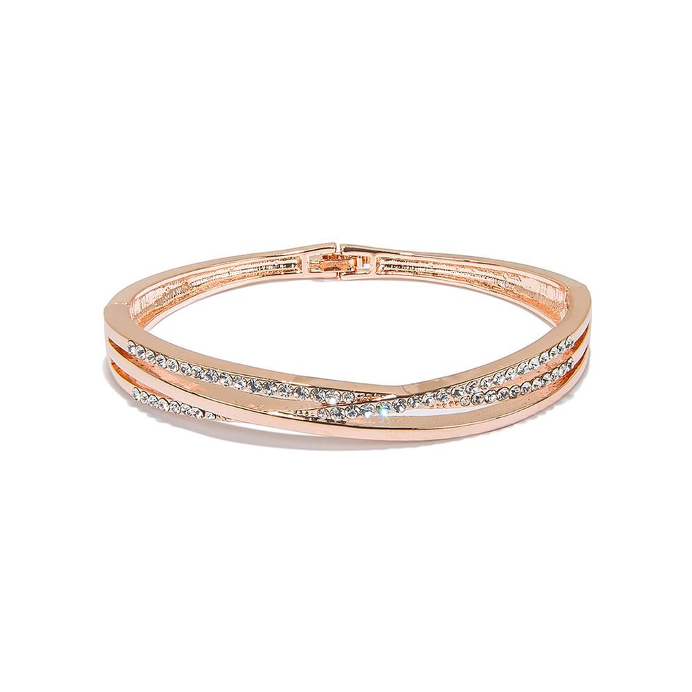 Costume bangle bracelets rose gold plated women crystal jewelry
