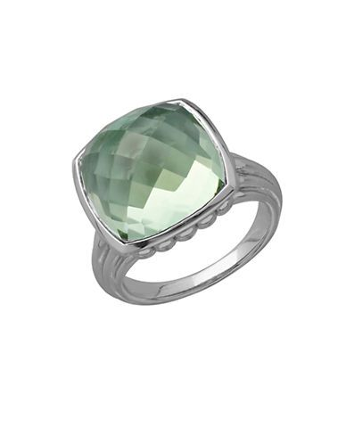 Lord & Taylor Sterling Silver and Quartz Doublet Ring Women's Green Qu