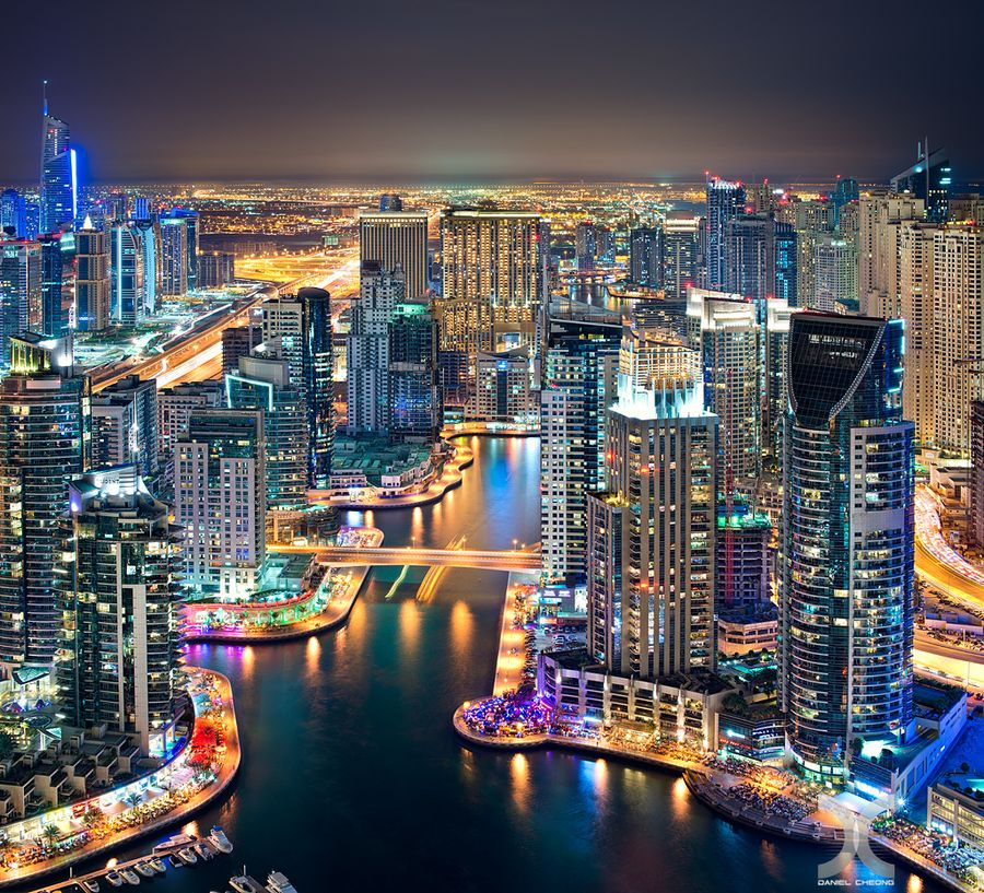 Shot from the Marina Heights Tower rooftop in Dubai Marina
