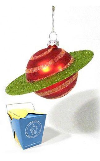 Christmas Saturn Ornament Red Green | Glass Christmas Ornaments | Seasons  of Cannon Falls |738449001011 - RayGun Ornament Metal Lightning Spaceship Xmas Tree For James