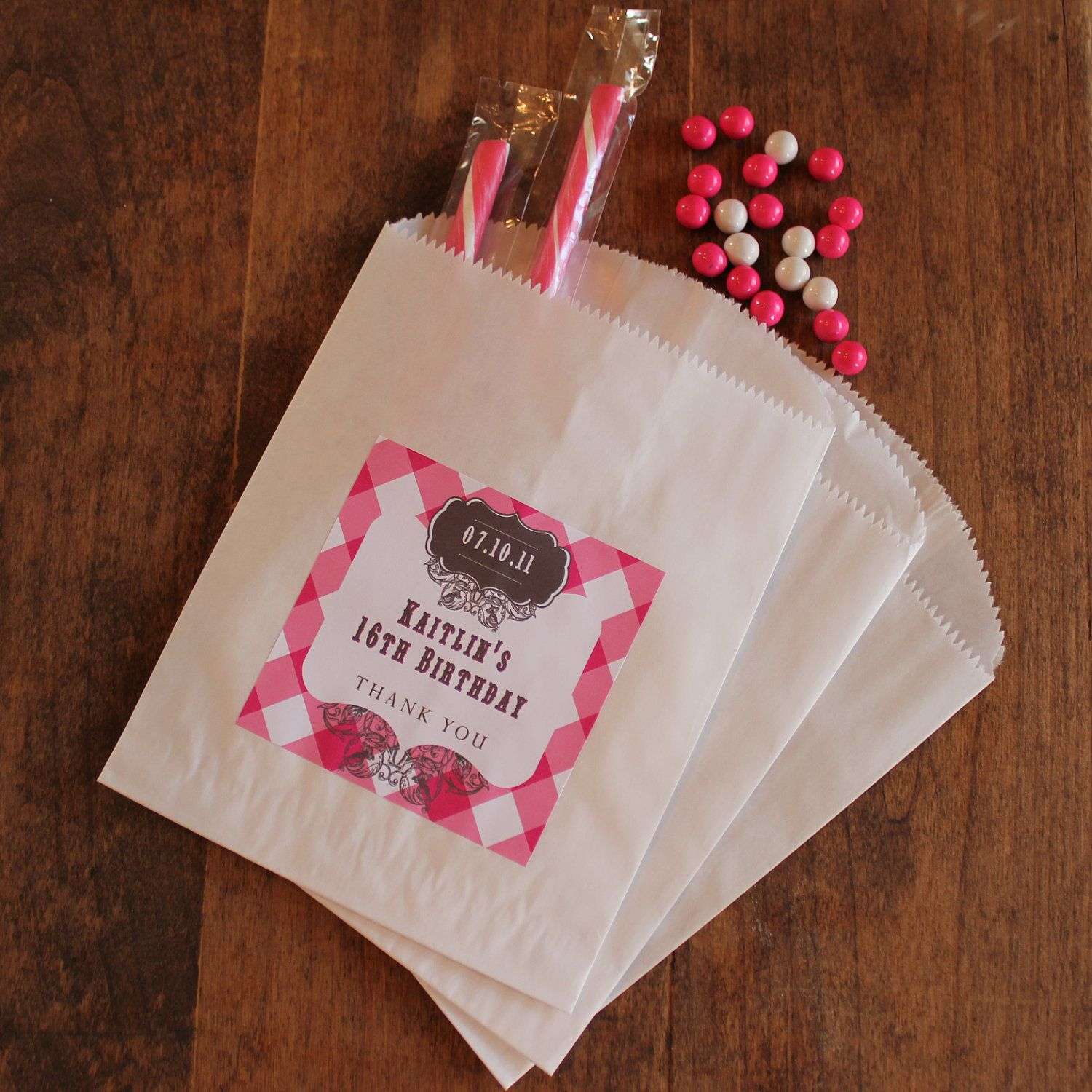 Sweet 16 Party Favor Bags With Personalized Labels Candy Buffet