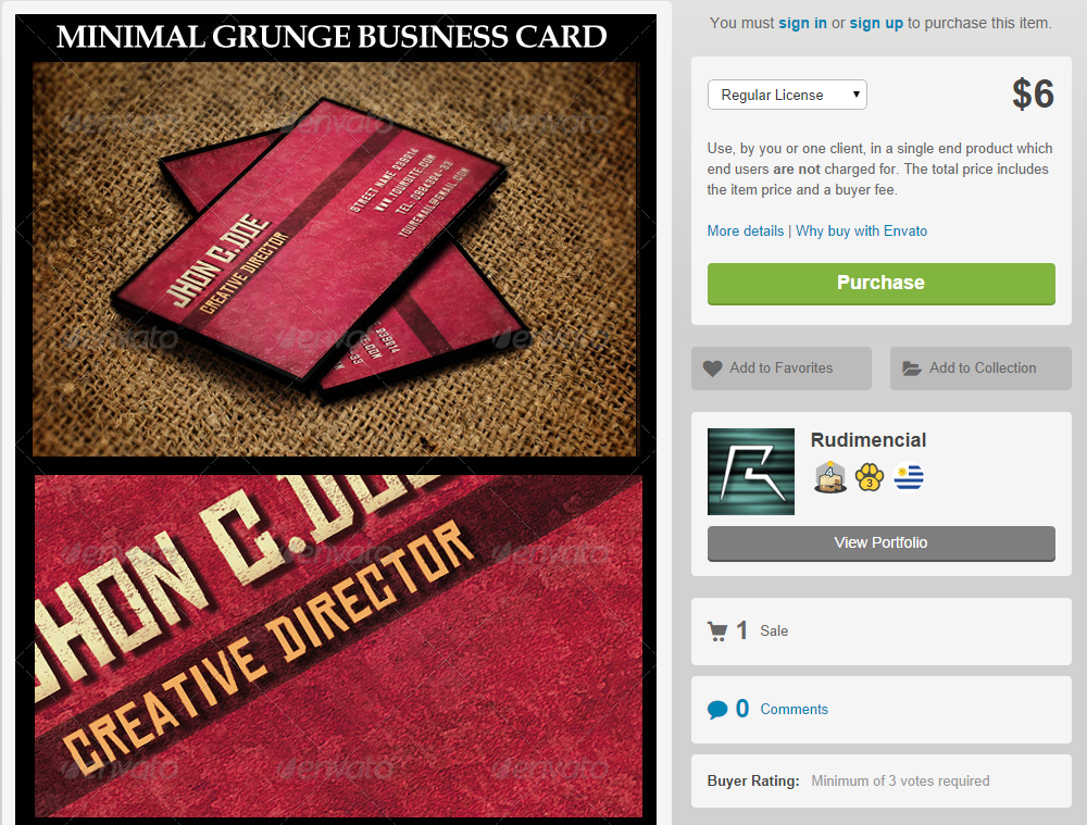 minimal grunge business card template