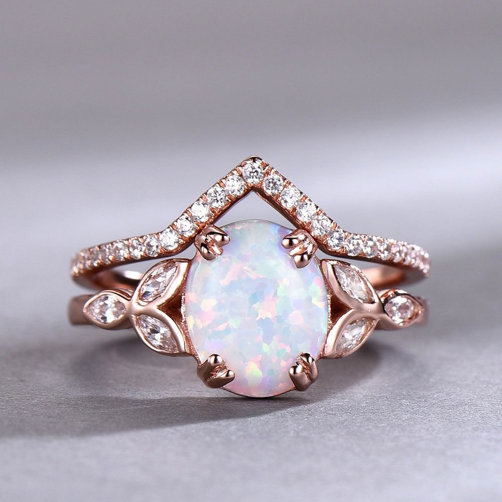 Opal Wedding Ring Set Opal Ring White Fire Opal Floral