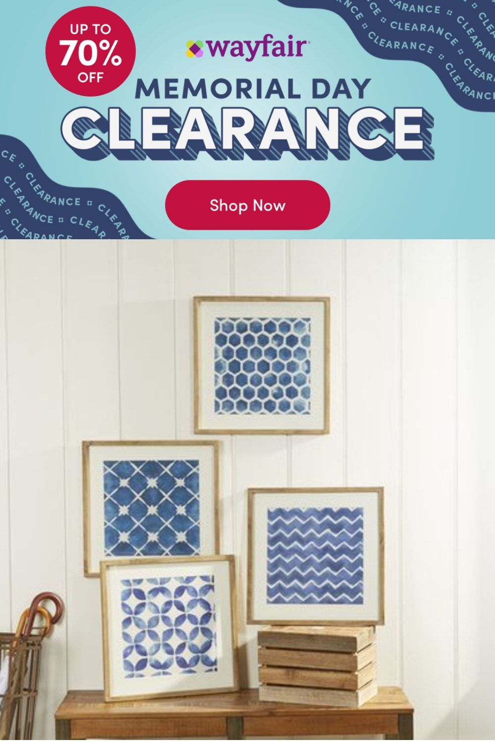 Photo of Birch Lane™ 'Blue Geometric' – 4 Piece Picture Frame Print Set on Wood, Wood in Brown/Blue/White, Size 1″H X 19″W X 19″D   Wayfair   Home Decor