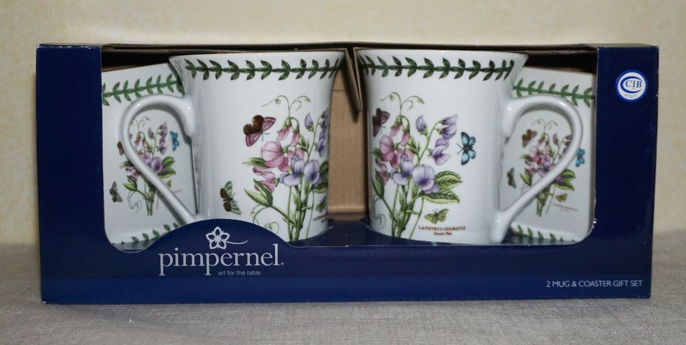 Nib Portmeirion Pimpernel Sweet Pea 2 Porcelain Mugs