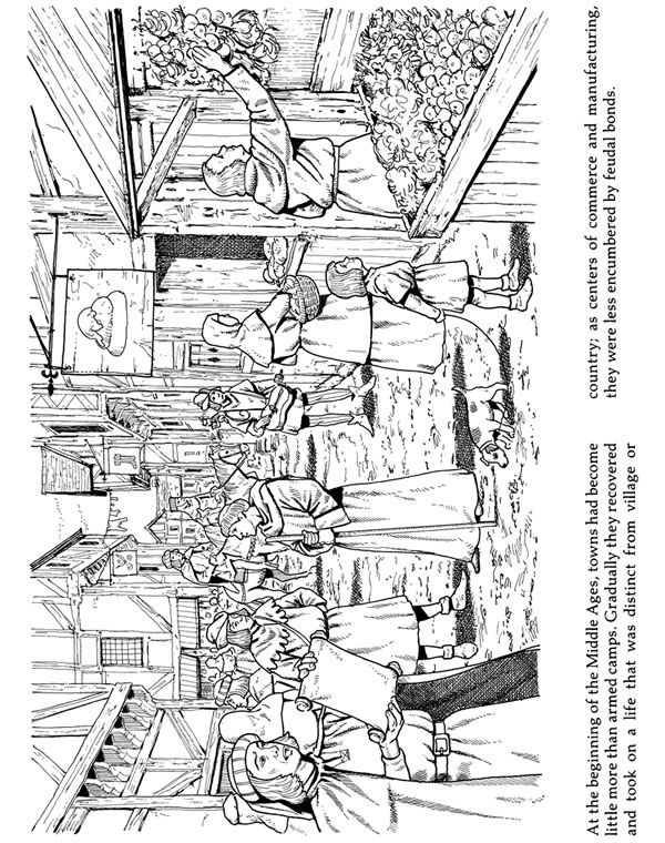 Life in a Medieval Castle and Village Coloring Book | Coloring the ...