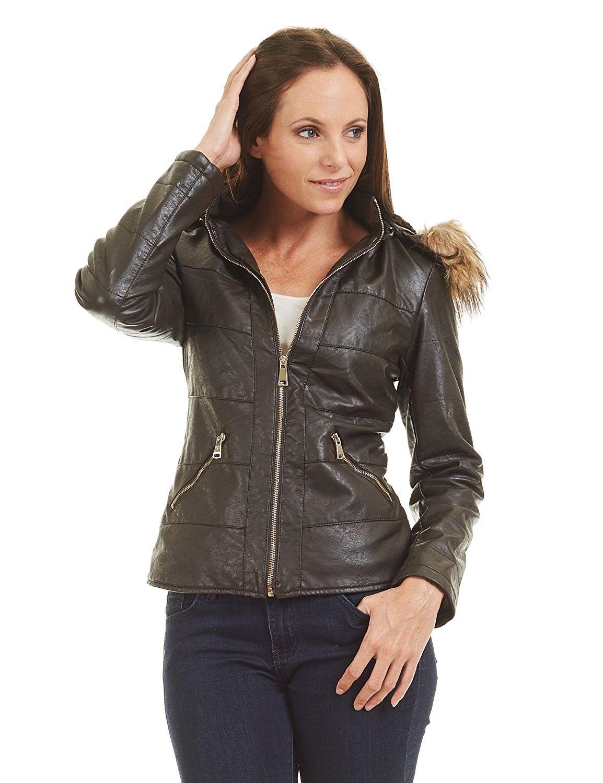 LL Womens Hodded FurLine Faux Leather Jacket Wjc1422