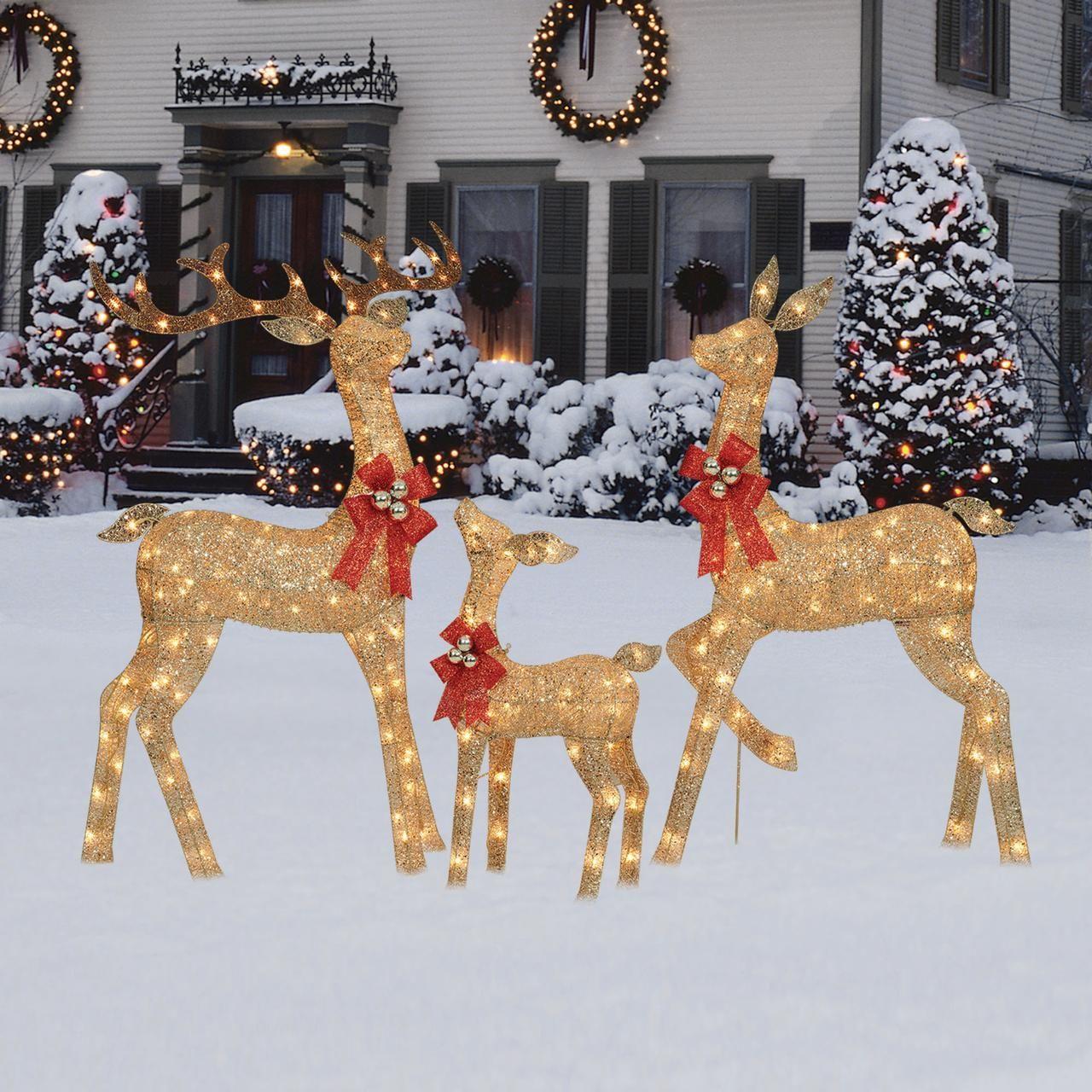 Holiday Time Light Up Glitter Deer Family Walmart Com Holiday Time Lights Deer Family Outdoor Christmas Deer
