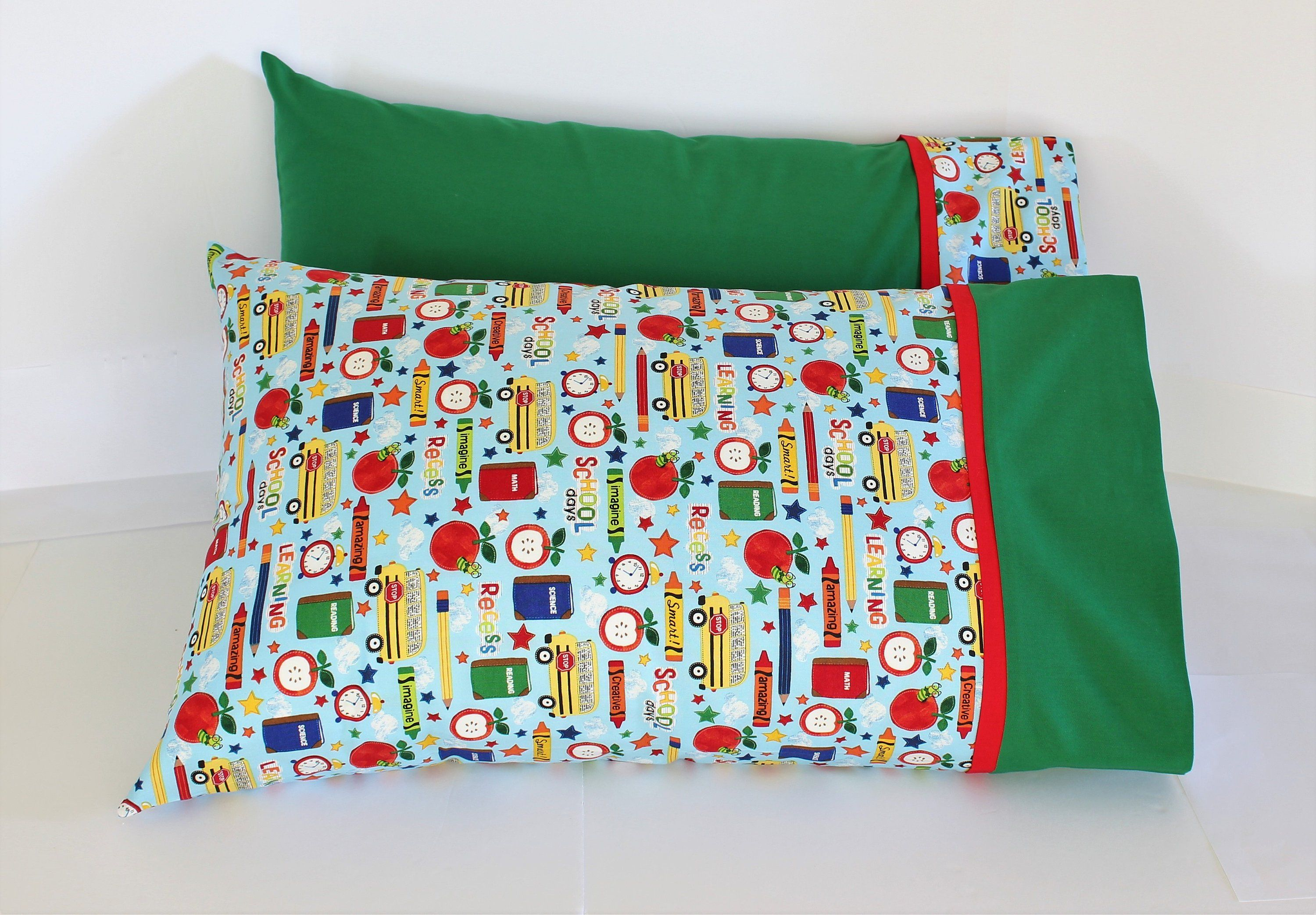 School Days Pillowcases Standard Size Back To School Etsy Kids Pillow Cases Holiday Pillows Covers Sewing Seams