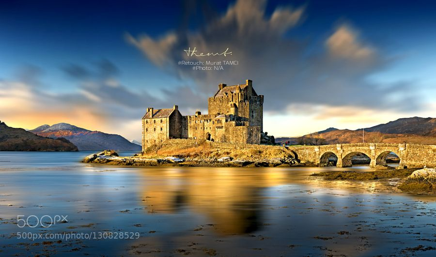 Eilean Donan Castle Retouch - Pinned by Mak Khalaf Retouch  Me Photograph  From Web (Unknown Owner) City and Architecture architecturebuildingcastlecloudsdunnottar castlehistoricalhistorylandscapeoldreflectionretouchskysunsettravelwater by themt