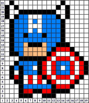Captain America Pixel Art Templates Minecraft Pixel Art