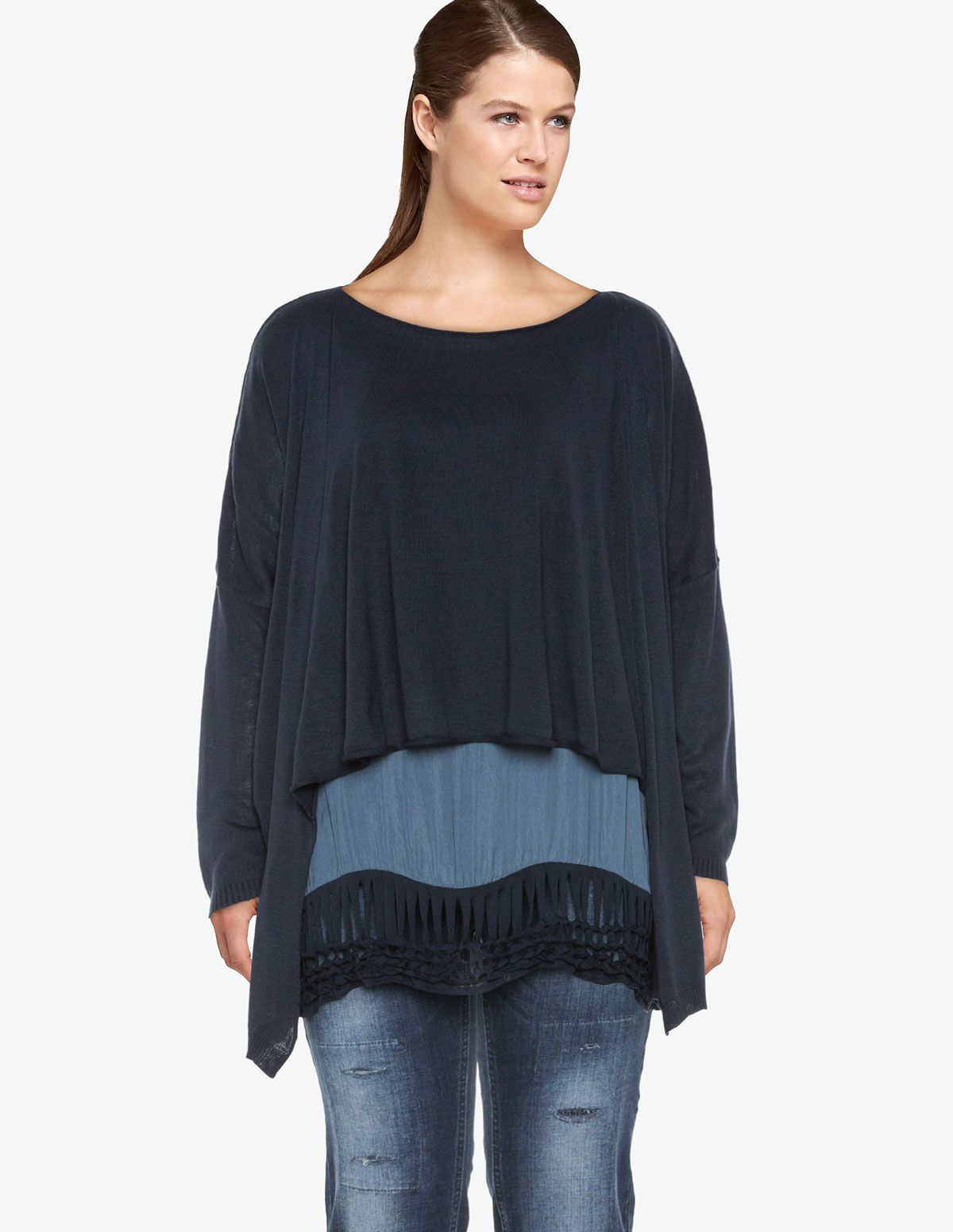 Mat Mixed material layered sweater in Blue / Dark-Blue