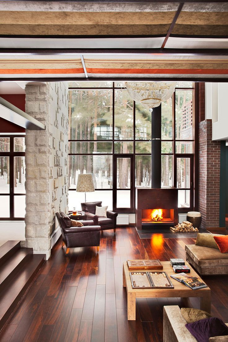 23 Comfy And Natural Chalet Living Room Designs Window House and
