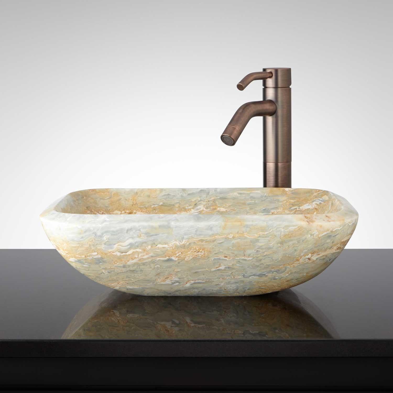 Iraya Rectangle Blue Onyx Vessel Sink