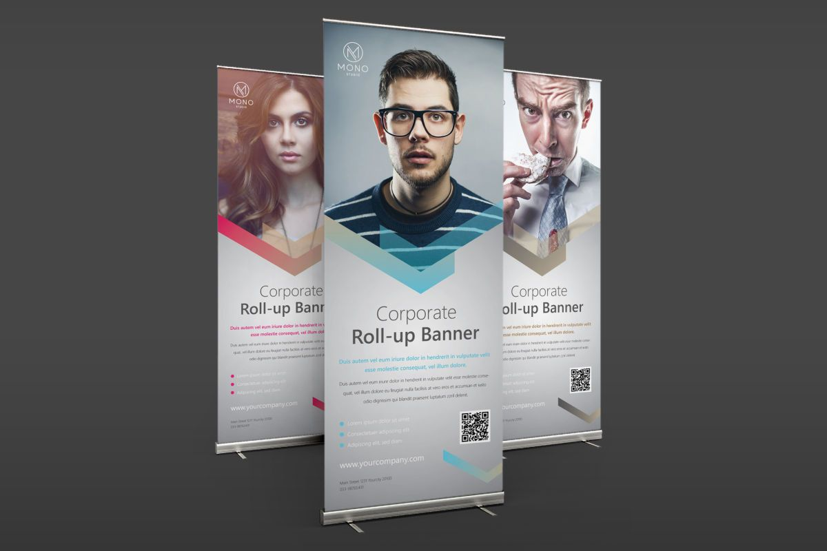 Corporate Roll Up Banner Template Ai Psd Corporate Banner Tradeshow Banner Banner