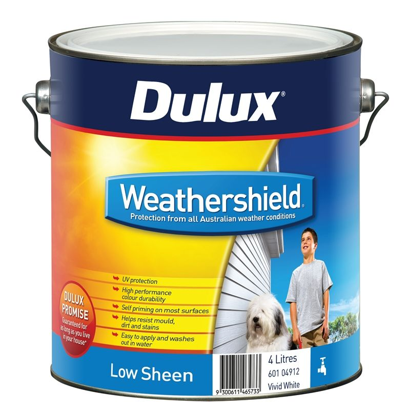 Dulux Weathershield 4L Low Sheen Vivid White Exterior