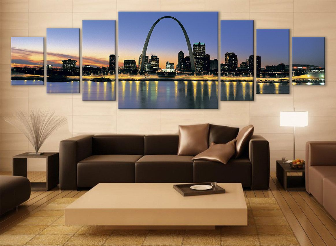 Large Wall Decor For Living Room St Louis Cityscape Canvas Art Multi Panel Print Modern Art Wall