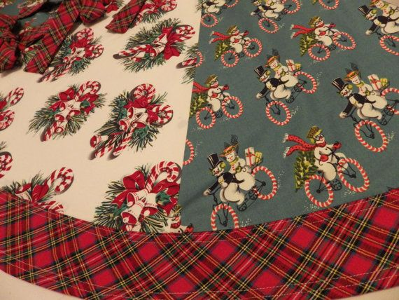 Christmas Tree Skirt Vintage Look Candy Cane by thehappyseamstress