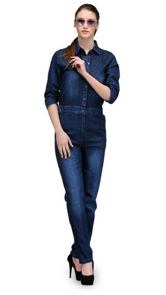 TheGudLook Blue Denim Jumpsuit #TheGudLook, #Denim, #Blue ...